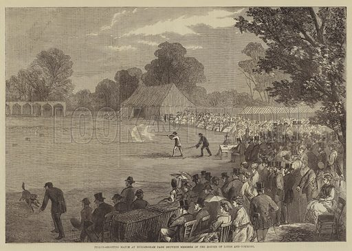 Pigeon-Shooting Match at Hurlingham Park between Members of the Houses of Lords and Commons. Illustration for The Illustrated Times, 18 June 1870.