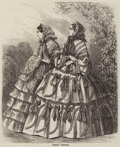August Fashions. Illustration for the Illustrated Times, 2 August 1856.