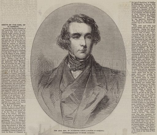The late Earl of Ellesmere. Illustration for the Illustrated Times, 28 February 1857.