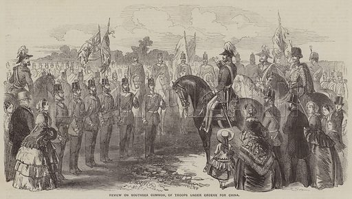 Review of Southsea Common, of Troops under Orders for China. Illustration for the Illustrated Times, 4 April 1857.