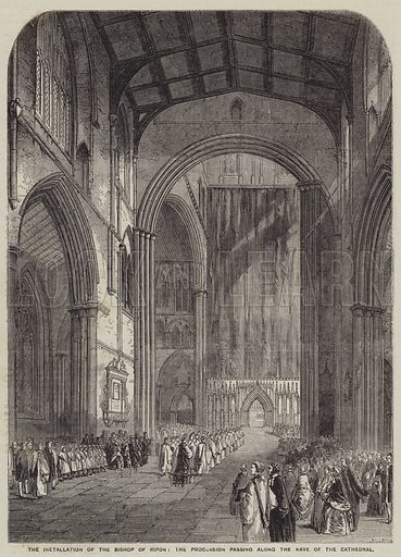 The Installation of the Bishop of Ripon, the Procession passing along the Nave of the Cathedral. Illustration for the Illustrated Times, 11 April 1857.