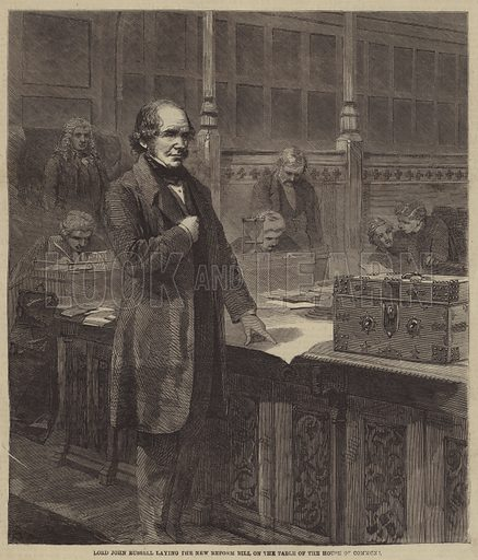Lord John Russell laying the New Reform Bill on the Table of the House of Commons. Illustration for the Illustrated Times, 10 March 1860.