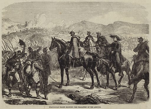 Neapolitan Troops exciting the Peasantry of the Abruzzi. Illustration for the Illustrated Times, 30 March 1861.