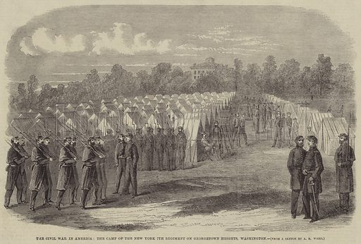 The Civil War in America, the Camp of the New York 7th Regiment on Georgetown Heights, Washington. Illustration for the Illustrated Times, 15 June 1861.