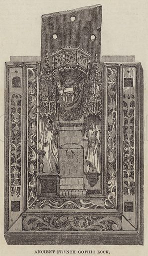 Ancient French Gothic Lock. Illustration for the Illustrated Times, 30 November 1861.