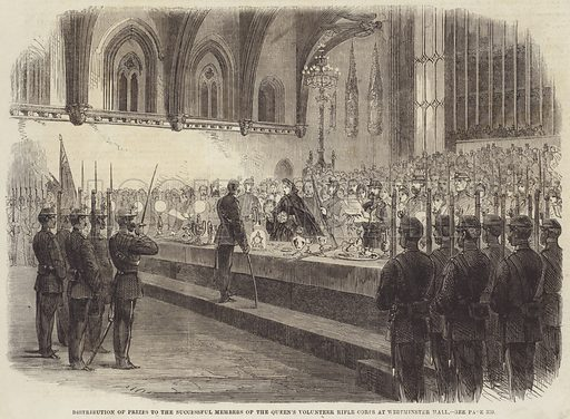 Distribution of Prizes to the Successful Members of the Queen's Volunteer Rifle Corps at Westminster Hall. Illustration for the Illustrated Times, 7 December 1861.