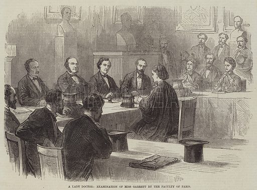 A Lady Doctor, Examination of Miss Garrett by the Faculty of Paris. Illustration for the Illustrated Times, 2 July 1870.