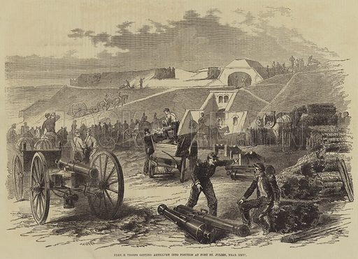 French Troops getting Artillery into Position at Fort St Julien, near Metz. Illustration for the Illustrated Times, 6 August 1870.