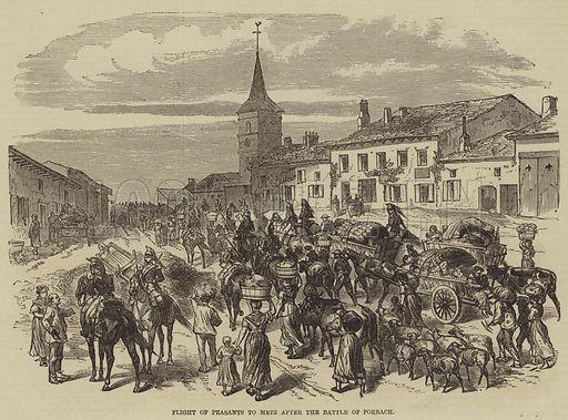 Flight of Peasants to Metz after the Battle of Forbach. Illustration for the Illustrated Times, 3 September 1870.