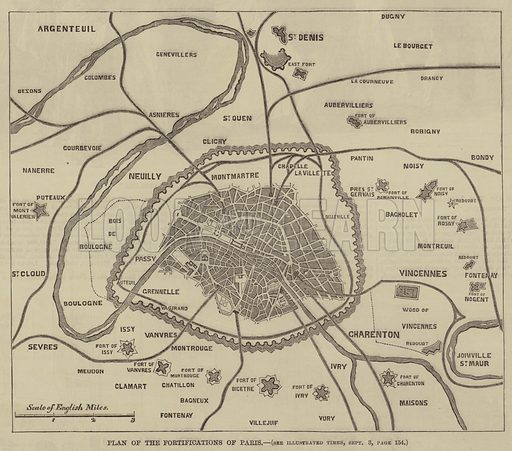 Plan of the Fortifications of Paris. Illustration for the Illustrated Times, 10 September 1870.