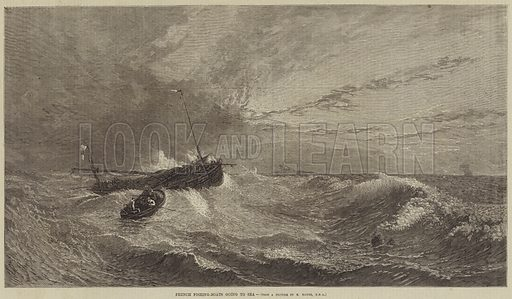 French Fishing-Boats going to Sea. Illustration for the Illustrated Times, 15 October 1870.