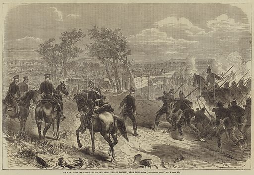 The War, Germans advancing to the Recapture of Bourget, near Paris. Illustration for the Illustrated Times, 24 December 1870.