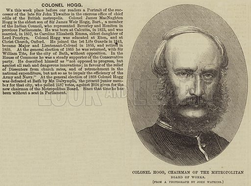 Colonel Hogg, Chairman of the Metropolitan Board of Works. Illustration for the Illustrated Times, 31 December 1870.