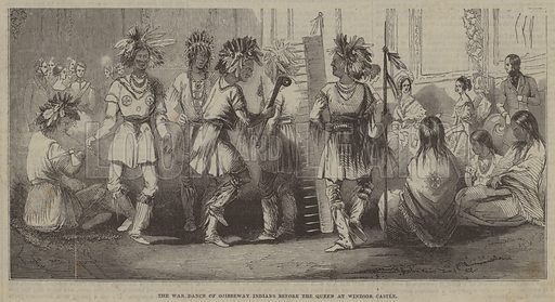 The War Dance of Ojibbeway Indians before the Queen at Windsor Castle. Illustration for The Pictorial Times, 6 January 1844.