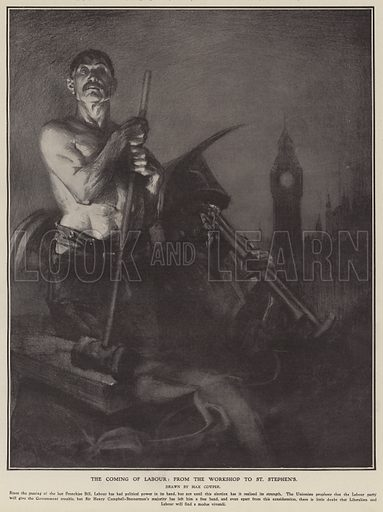 The coming of Labour: from the workshop to St Stephen's. Illustration for The Illustrated London News, 27 January 1906.