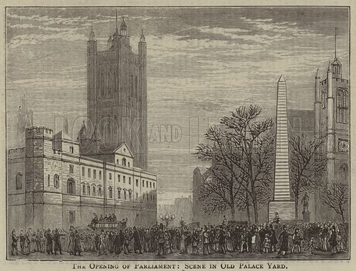 The Opening of Parliament, Scene in Old Palace Yard. Illustration for The Pictorial World, 26 January 1878.