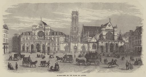 Alterations on the Place du Louvre. Illustration for The Illustrated News of the World, 28 January 1860.