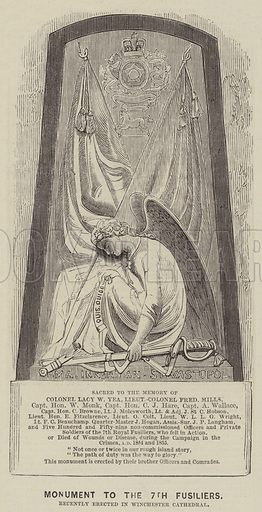 Monument to the 7th Fusiliers, Recently Erected in Winchester Cathedral. Illustration for The Illustrated News of the World, 4 February 1860.