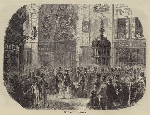 Fete of St Joseph. Illustration for The Illustrated News of the World, 7 April 1860.