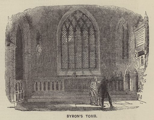 Byron's Tomb. Illustration for The Illustrated News of the World, 23 June 1860.