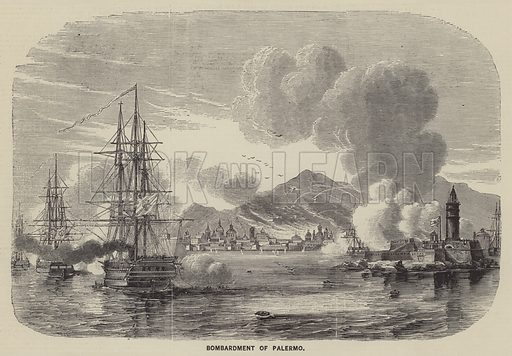 Bombardment of Palermo. Illustration for The Illustrated News of the World, 23 June 1860.