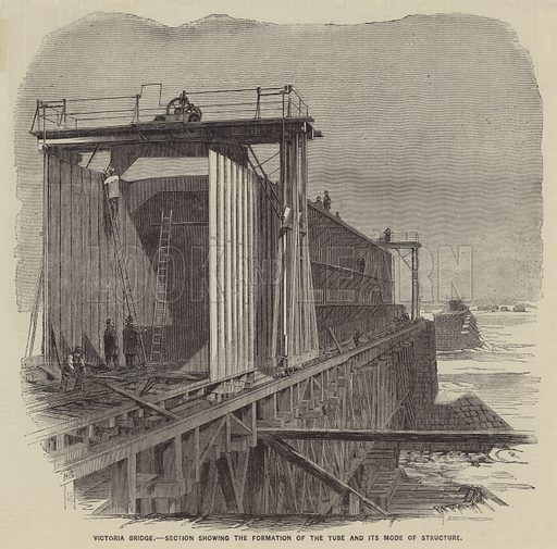 Victoria Bridge, Section Showing the Formation of the Tube and its Mode of Structure. Illustration for The Illustrated News of the World, 21 July 1860.