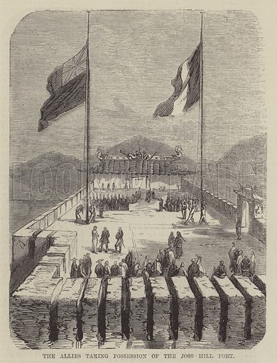 The Allies Taking Possession of the Joss Hill Fort. Illustration for The Illustrated News of the World, 11 August 1860.