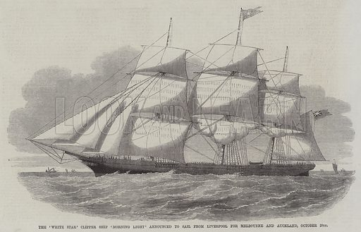 The 'White Star' Clipper Ship 'Morning Light' Announced to Sail from Liverpool for Melbourne and Auckland, October 20th Illustration for The Illustrated News of the World, 8 September 1860.
