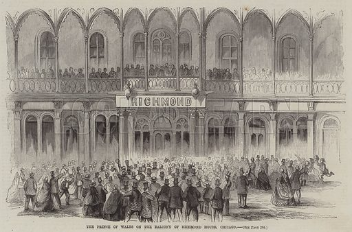 The Prince of Wales on the Balcony of Richmond House, Chicago. Illustration for The Illustrated News of the World, 3 November 1860.