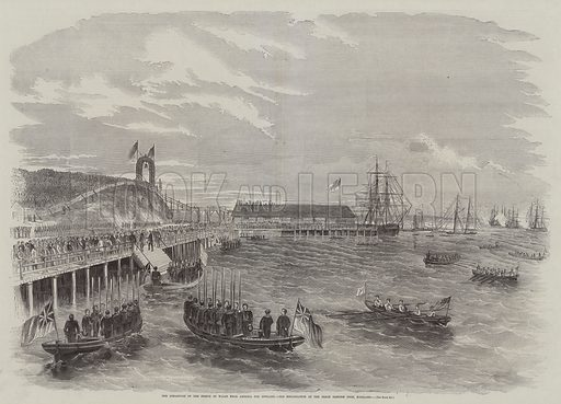The Departure of the Prince of Wales from America for England, his Embarkation at the Great Eastern Dock, Portland. Illustration for The Illustrated News of the World, 8 December 1860.