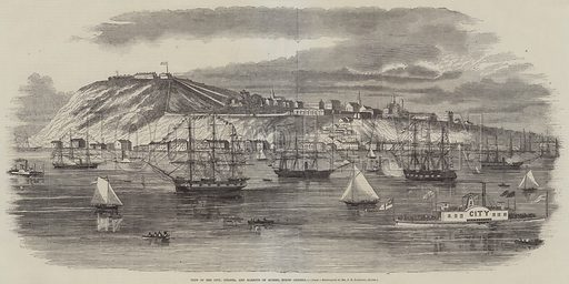 View of the City, Citadel, and Harbour of Quebec, North America. Illustration for The Illustrated News of the World, 22 September 1860.