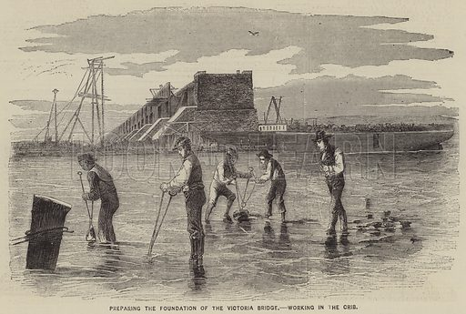 Preparing the Foundation of the Victoria Bridge, Working in the Crib. Illustration for The Illustrated News of the World, 21 July 1860.