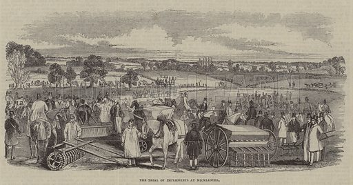 Trial of agricultural implements, Mickleover.  Illustration for The Pictorial Times, 15 July 1843.