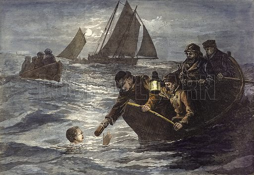 Captain Webb's attempt to swim across the English Channel, Hot Coffee by Moonlight.   From the Illustrated London News. Modern hand colouring in Victorian style.