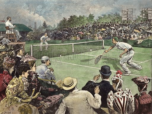 The Lawn Tennis Championship at Wimbledon, Messrs W Baddeley and J Pim competing for the Finals.  From Black and White, 11 July 1891.  Modern hand colouring in Victorian style.