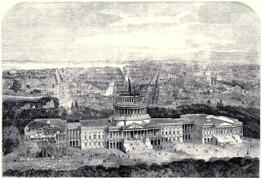 Birds eye view of the City of Washington DV, with the Capitol in the Foreground. From the Illustrated London News, 25 May 1861. [Digitally cleaned version.].