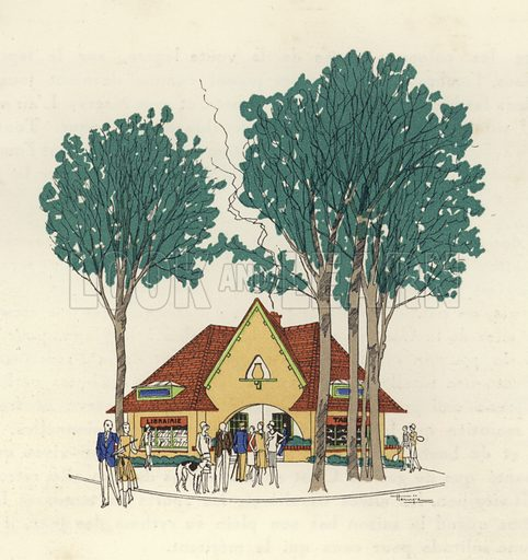 Librairie and Tabac at Le Touquet. Illustration for brochure on Le Touquet, published in 1928. Copyright permissions required for commercial use. Information about artist's date of death sought.