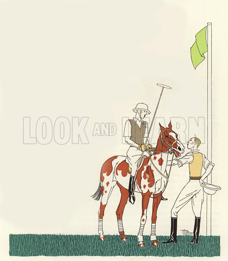 Polo. Illustration for brochure on Le Touquet, published in 1928. Copyright permissions required for commercial use. Information about artist's date of death sought.