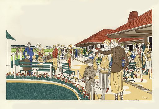 The Golf Club at Le Touquet. Illustration for brochure on Le Touquet, published in 1928. C.
