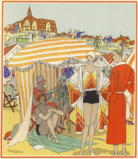 Bathing time on the beach at Le Touquet. Illustration for brochure on Le Touquet, published in 1928. Copyright permissions required for commercial use. Information about artist's date of death sought.