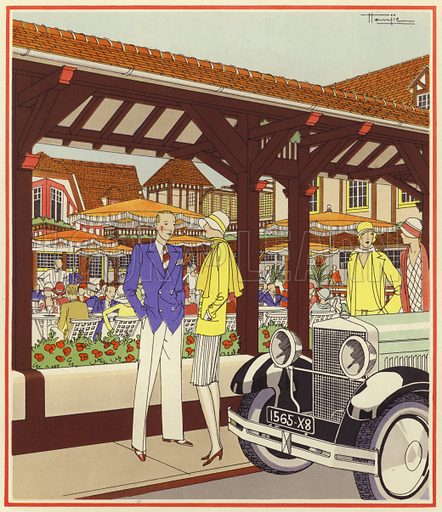 "Au ""Normandy"" at Le Touquet. Illustration for brochure on Le Touquet, published in 1928. Copyright permissions required for commercial use. Information about artist's date of death sought."
