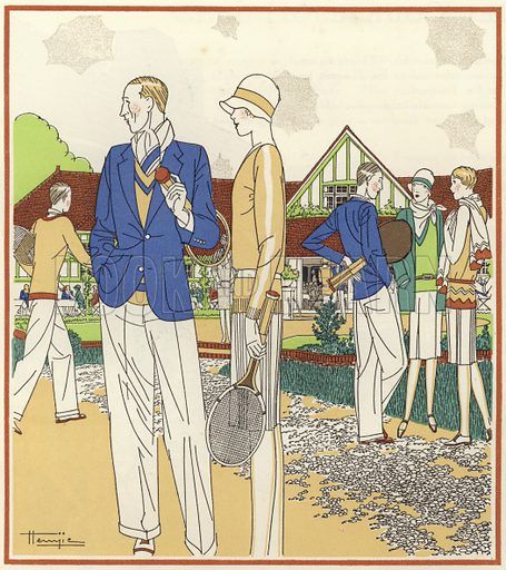 Tennis Club at Le Touquet. Illustration for brochure on Le Touquet, published in 1928. Copyright permissions required for commercial use. Information about artist's date of death sought.