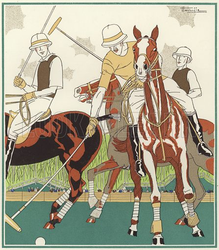 Polo at Le Touquet. Illustration for brochure on Le Touquet, published in 1928. Copyright permissions required for commercial use. Information about artist's date of death sought.