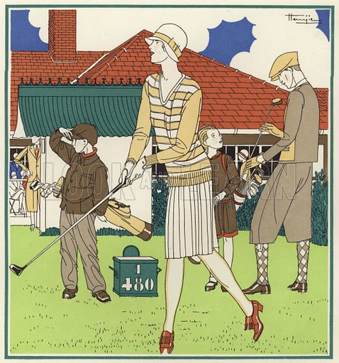 The first tee, opposite the Club House at Le Touquet. Illustration for brochure on Le Touquet, published in 1928. Copyright permissions required for commercial use. Information about artist's date of death sought.