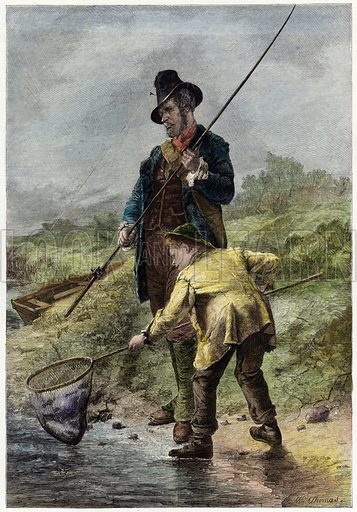 Caught!  Illustration from the Illustrated London News, 4 March 1865.  Modern hand colouring in Victorian style.