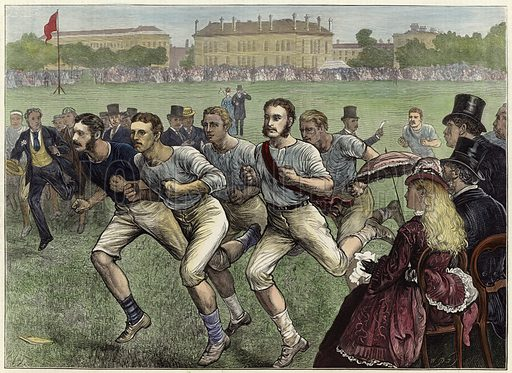 Dublin University Athletic Club Sports in College Park.  From the Illustrated London News, 20 June 1874.  Modern hand colouring in Victorian style.