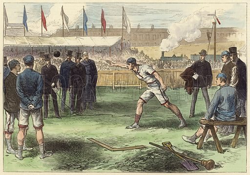 The Universities' Athletics Sports, West Brompton, Putting the Weight.  Modern hand colouring in Victorian style.