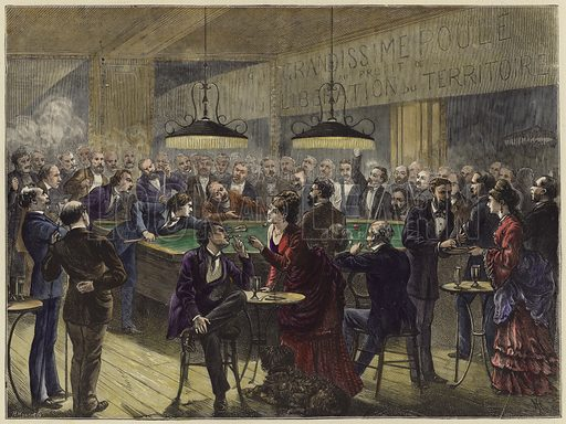 Playing Pool in a Paris Cafe in aid of the Territorial Liberation Fund.  From The Graphic, 6 April 1872.  Modern hand colouring in Victorian style.