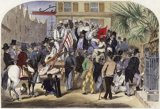 Slave sale, Charleston, South Carolina.  From a sketch by Eyre Crowe.  From the Illustrated London News, 29 November 1856.  Modern hand colouring in Victorian style.