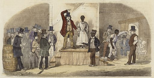 Slave auction in Richmond, Virginia.  From the Illustrated London News, 27 September 1856.  Modern hand colouring in Victorian style.